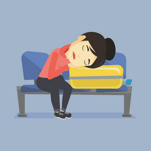 Asian passenger sleeping on luggage in airport. Exhausted woman sleeping on suitcase at airport. Woman waiting for flight and sleeping on suitcase. Vector flat design illustration. Square layout.
