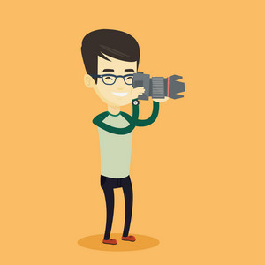 Asian photographer working with digital camera. Photographer taking a photo. Young photographer taking a picture. Vector flat design illustration. Square layout.