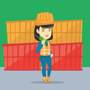 Asian port worker in hard hat talking on wireless radio. Port worker standing on cargo containers background. Smiling port worker using wireless radio. Vector flat design illustration. Square layout.
