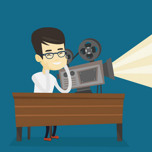 Asian projectionist showing new film. Man sitting at the table with film projector in the room of projectionist. Young projectionist at work. Vector flat design illustration. Square layout.