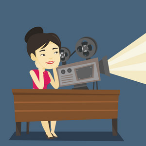 Asian projectionist showing new film. Woman sitting at the table with film projector in the room of projectionist. Young projectionist at work. Vector flat design illustration. Square layout.