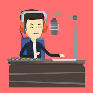 Asian radio dj in headset working on a radio station. Radio dj working in front of microphone, computer and mixing console on radio. Vector flat design illustration. Square layout.