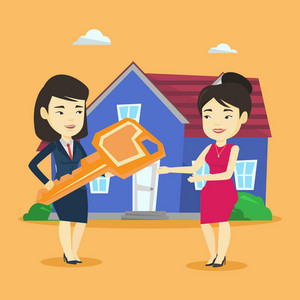 Asian real estate agent passing house keys to a new owner. Friendly real estate agent giving key to a new owner of house. Woman buying a new house. Vector flat design illustration. Square layout.
