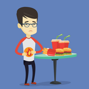 Asian sad man having stomach ache from heartburn. Young man suffering from heartburn. Upset man having stomach ache after fast food. Vector flat design illustration. Square layout.