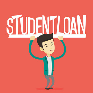Asian sad man holding a heavy sign of student loan. Young tired man carrying heavy sign - student loan. Concept of the high cost of student loan. Vector flat design illustration. Square layout.