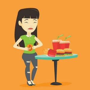 Asian sad woman having stomach ache from heartburn. Young woman suffering from heartburn. Upset woman having stomach ache after fast food. Vector flat design illustration. Square layout.