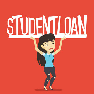 Asian sad woman holding a heavy sign of student loan. Young tired woman carrying heavy sign - student loan. Concept of the high cost of student loan. Vector flat design illustration. Square layout.