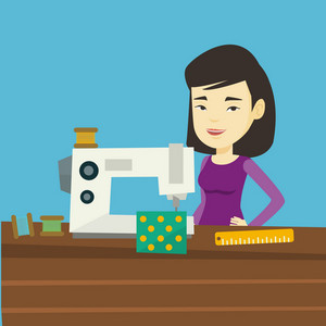 Asian seamstress working in a cloth factory. Young seamstress sewing on an industrial sewing machine. Seamstress using sewing machine at workshop. Vector flat design illustration. Square layout.