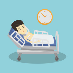 Asian sick man with fever laying in bed. Young sick man measuring temperature with thermometer. Sick man suffering from cold or flu virus. Vector flat design illustration. Square layout.