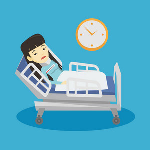 Asian sick woman with fever laying in bed. Young sick woman measuring temperature with thermometer. Sick woman suffering from cold or flu virus. Vector flat design illustration. Square layout.