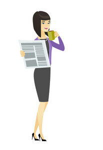 Asian smiling business woman holding cup of coffee and newspaper. Young business woman drinking coffee and reading news in newspaper. Vector flat design illustration isolated on white background.