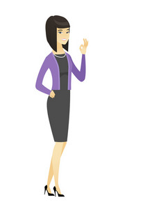Asian smiling business woman showing ok sign. Young happy business woman making ok sign. Successful business woman gesturing ok sign. Vector flat design illustration isolated on white background.