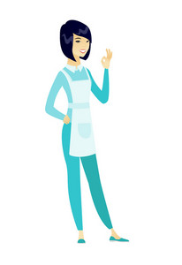 Asian smiling cleaner showing ok sign. Full length of young happy cleaner cleaner making ok sign. Successful cleaner gesturing ok sign. Vector flat design illustration isolated on white background.