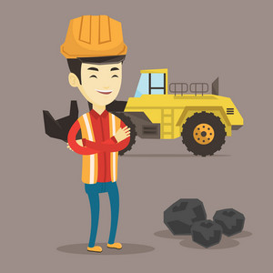 Asian smiling male miner in hard hat standing on the background of a big excavator. Confident miner in helmet with crossed arms standing near coal. Vector flat design illustration. Square layout.