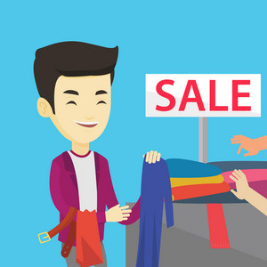 Asian smiling man choosing clothes in shop on sale. Happy male customer buying clothes at the store on sale. Young man shopping in clothes shop on sale. Vector flat design illustration. Square layout.
