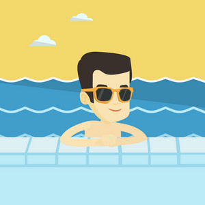 Asian smiling man relaxing in swimming pool at resort. Young man bathing in swimming pool. Cheerful guy swimming and relaxing in pool on summer vacation. Vector flat design illustration. Square layout