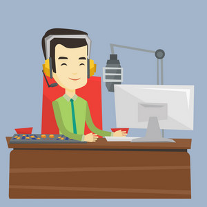 Asian smiling radio dj in headset working on a radio station. Radio dj working in front of microphone, computer and mixing console on radio. Vector flat design illustration. Square layout.