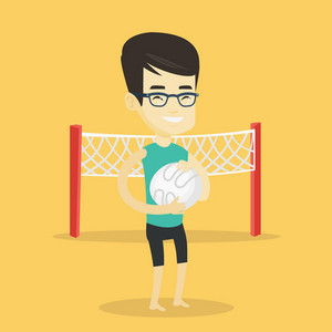 Asian smiling sportsman holding volleyball ball in hands. Young cheerful beach volleyball player standing on the background with voleyball net. Vector flat design illustration. Square layout.