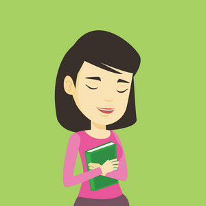 Asian smiling student hugging her book. Happy joyful student likes read books. Peaceful student with eyes closed holding a book. Concept of education. Vector flat design illustration. Square layout.