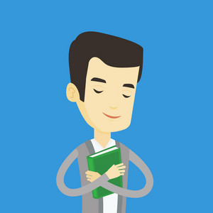 Asian smiling student hugging his book. Happy joyful student likes read books. Peaceful student with eyes closed holding a book. Concept of education. Vector flat design illustration. Square layout.