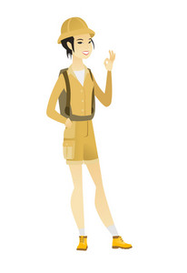 Asian smiling traveler showing ok sign. Young cheerful female traveler making ok sign. Successful happy traveler gesturing ok sign. Vector flat design illustration isolated on white background.