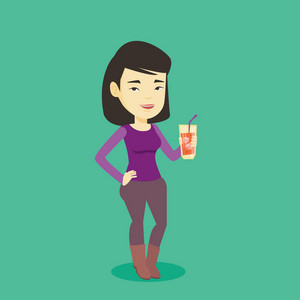 Asian smiling woman holding cocktail glass with drinking straw. Joyful woman drinking a cocktail. Young happy woman celebrating with a cocktail. Vector flat design illustration. Square layout.