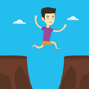 Asian sportsman jumping across the gap from one rock to another. Smiling sportsman jumping over rocks with gap. Young sportsman running. Vector flat design illustration. Square layout.