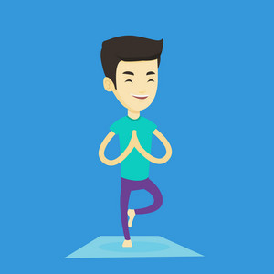 Asian sportsman meditating in yoga tree position. Smiling sportsman standing in yoga tree position. Young sporty man doing yoga on the mat. Vector flat design illustration. Square layout.