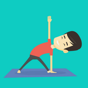 Asian sportsman meditating in yoga triangle position. Cheerful sportsman standing in yoga triangle position. Young sporty man doing yoga on the mat. Vector flat design illustration. Square layout.