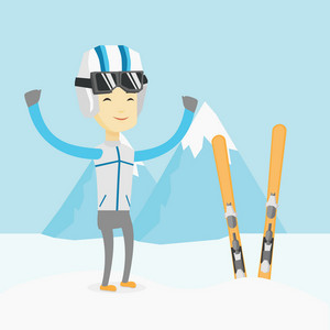 Asian sportsman standing with skis on the background of snowy mountains. Young man skiing. Cheerful skier resting in the mountains during sunny day. Vector flat design illustration. Square layout.