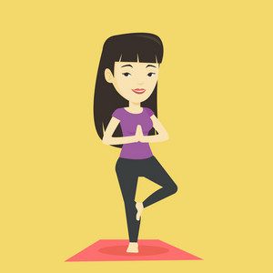Asian sportswoman meditating in yoga tree position. Smiling sportswoman standing in yoga tree position. Young sporty woman doing yoga on the mat. Vector flat design illustration. Square layout.