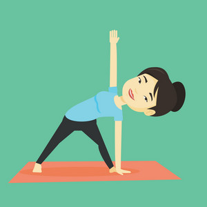 Asian sportswoman meditating in yoga triangle position. Cheerful sportswoman standing in yoga triangle position. Young woman doing yoga on the mat. Vector flat design illustration. Square layout.