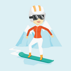 Asian sportswoman snowboarding on the background of snow capped mountain. Snowboarder on piste in mountains. Young woman snowboarding in the mountains. Vector flat design illustration. Square layout.