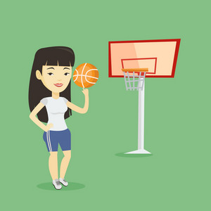 Asian sportswoman spinning basketball ball on her finger. Young basketball player standing on the basketball court. Female basketball player in action. Vector flat design illustration. Square layout.