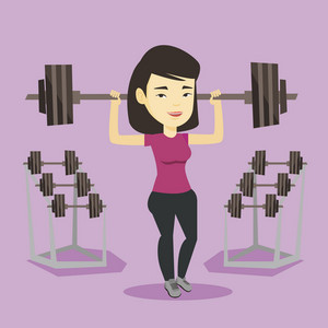 Asian sporty woman lifting a heavy weight barbell. Strong weightlifter doing exercise with barbell. Young weightlifter holding a barbell in the gym. Vector flat design illustration. Square layout.