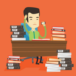 Asian stressed office worker. Overworked office worker feeling stress from work. Stressful office worker sitting at workplace. Stress at work concept. Vector flat design illustration. Square layout.