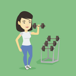 Asian strong weightlifter doing exercise with dumbbell. Young sporty woman lifting a heavy weight dumbbell. Weightlifter holding dumbbell in the gym. Vector flat design illustration. Square layout.
