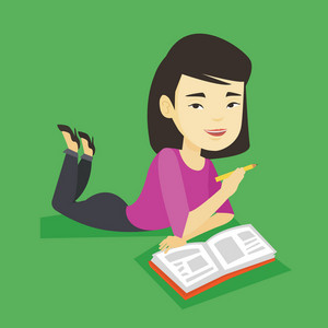 Asian student laying on the floor and reading a book. Student laying with notebook. Student writing while laying on the floor. Concept of education. Vector flat design illustration. Square layout.