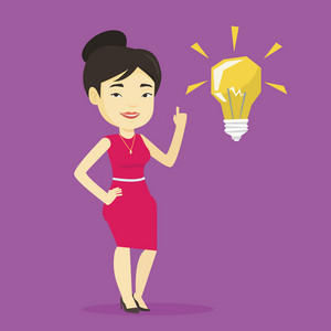 Asian student pointing her finger up at the idea light bulb. Young excited student with bright idea bulb. Smart smiling student having a great idea. Vector flat design illustration. Square layout.
