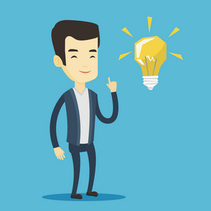 Asian student pointing his finger up at the idea light bulb. Young excited student with bright idea bulb. Smart smiling student having a great idea. Vector flat design illustration. Square layout.