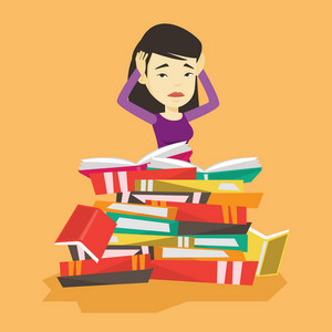 Asian student sitting in huge pile of books. Exhausted student preparing for exam with books. Stressed student reading books. Concept of education. Vector flat design illustration. Square layout.