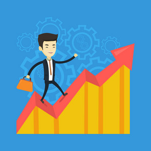Asian successful business man standing on profit chart. Young happy business man running along the profit chart. Business profit concept. Vector flat design illustration. Square layout.