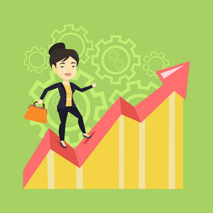 Asian successful business woman standing on profit chart. Young happy business woman running along the profit chart. Business profit concept. Vector flat design illustration. Square layout.