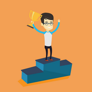Asian successful businessman with business award standing on a pedestal. Cheerful businessman celebrating his business award. Business award concept. Vector flat design illustration. Square layout.