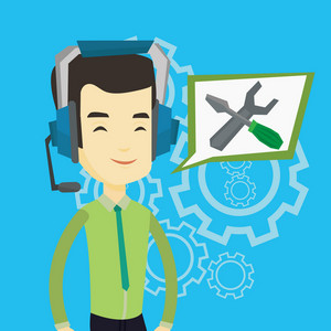 Asian technical support operator and speech square with screwdriver and wrench. Young cheerful operator of technical support wearing headphone set. Vector flat design illustration. Square layout.