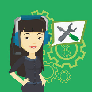 Asian technical support operator and speech square with screwdriver and wrench. Young female operator of technical support wearing headphone set. Vector flat design illustration. Square layout.