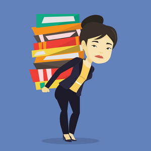 Asian tired student carrying a heavy pile of books on her back. Sad student walking with huge stack of books. Student preparing for exam with books. Vector flat design illustration. Square layout.