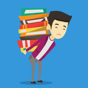 Asian tired student carrying a heavy pile of books on his back. Sad student walking with huge stack of books. Student preparing for exam with books. Vector flat design illustration. Square layout.