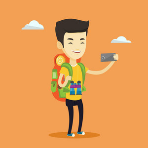 Asian tourist making selfie. Young smiling tourist with backpack taking selfie with cellphone. Happy male tourist taking selfie during summer trip. Vector flat design illustration. Square layout.