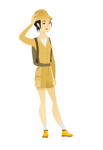 Asian traveler scratching her head. Full length of young thoughtful traveler scratching her head. Puzzled traveler scratching her head. Vector flat design illustration isolated on white background.